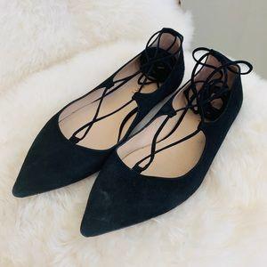 M. Gemi The Brezza Lace-Up Flat Black Suede 39